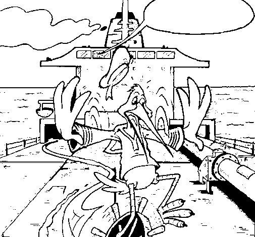 Dibujo de Cigüeña en un barco para Colorear