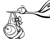 Dibujo de Cigüeña  para colorear