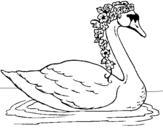 Dibujo de Cisne con flores para colorear