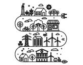 Dibujo de Ciudad Ecológica para colorear