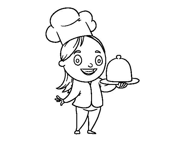 Dibujo de Cocinera con bandeja para Colorear