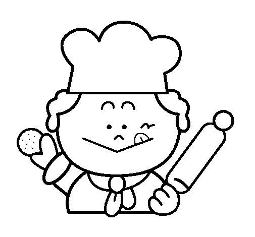Dibujo de Cocinero 2 para Colorear