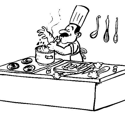 Dibujo de Cocinero en la cocina para Colorear