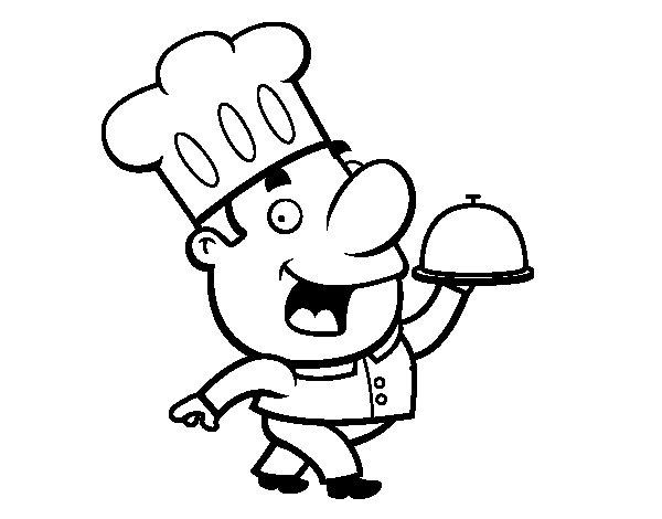 Dibujo de Cocinero gracioso para Colorear