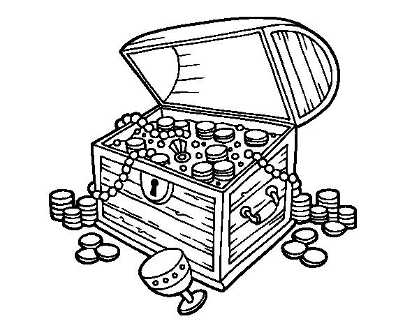 Dibujo de cofre del tesoro para colorear - Dessin de coffre de pirate ...