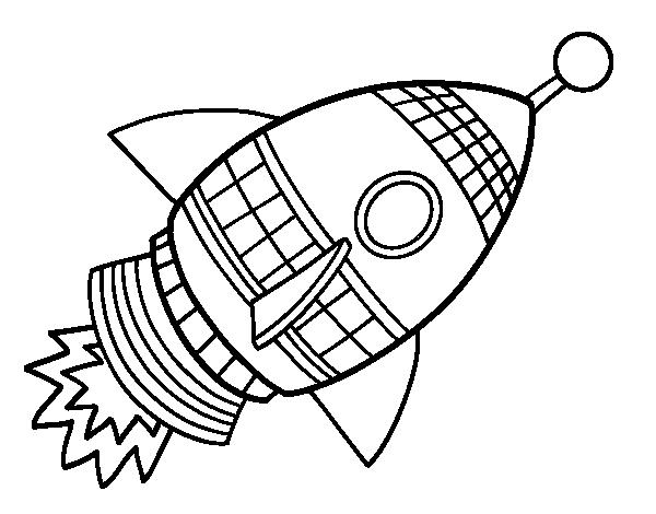 Dibujo para imprimir y colorear de un cohete - Dibujos