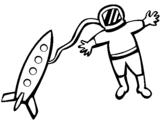 Dibujo de Cohete y astronauta para colorear