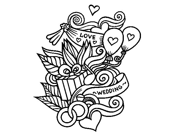 Dibujo de Collage de boda para Colorear