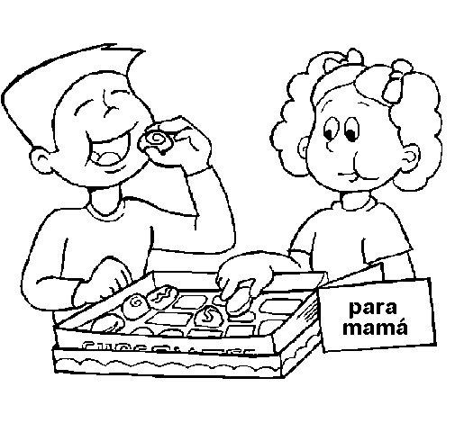 Dibujo de Comiendo ricos bombones para Colorear
