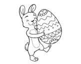 Dibujo de Conejito con huevo de Pascua enorme para colorear