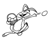 Dibujo de Conejito de pascua feliz para colorear