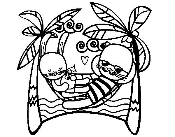 Dibujo de Conejitos en hamacas para Colorear  Dibujosnet
