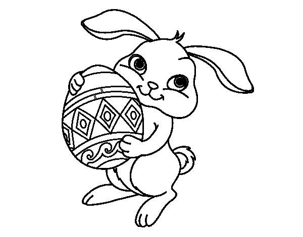 Dibujo de Conejo con huevo de pascua para Colorear  Dibujosnet