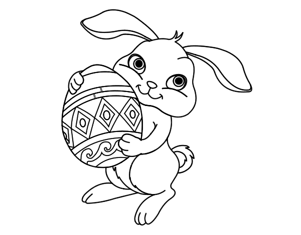 Dibujo de Conejo con huevo de pascua para Colorear - Dibujos.net