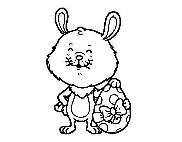 Niño Abriendo Un Regalo Dibujos Para Pintar: Dibujo De Conejo Con Regalo De Pascua Para Colorear