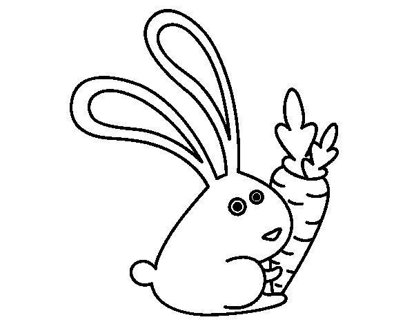 Dibujo de Conejo con zanahoria para Colorear