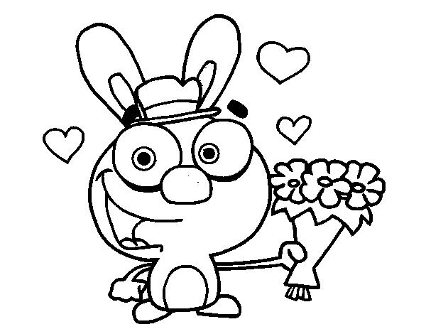 Dibujo de Conejo enamorado para Colorear