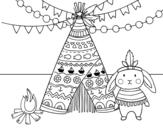 Dibujo de Conejo indio para colorear