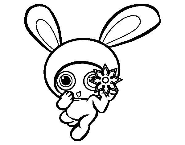 Dibujo de Conejo ninja para Colorear