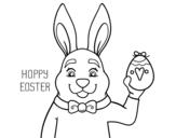 Dibujo de Conejo y Pascua para colorear