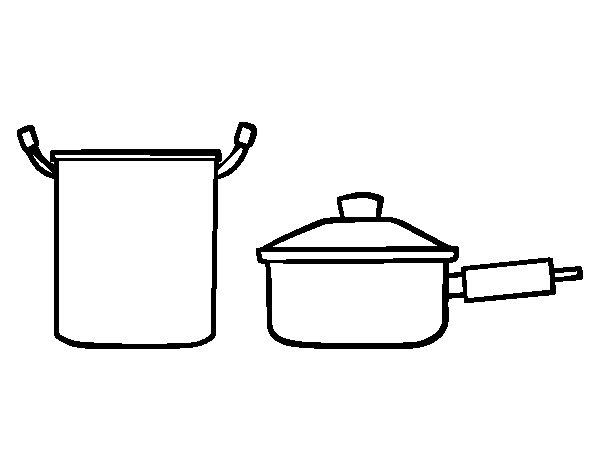 Dibujo de conjunto de ollas para colorear - Dibujos de cocina para pintar ...