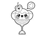 Dibujo de Copa de helado kawaii para colorear