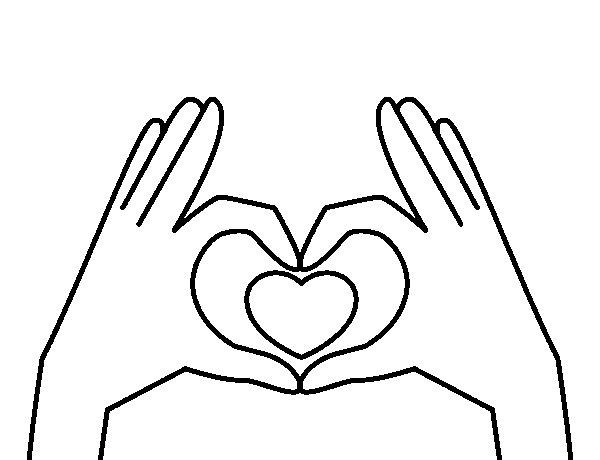 Dibujo de Corazón con las manos para Colorear