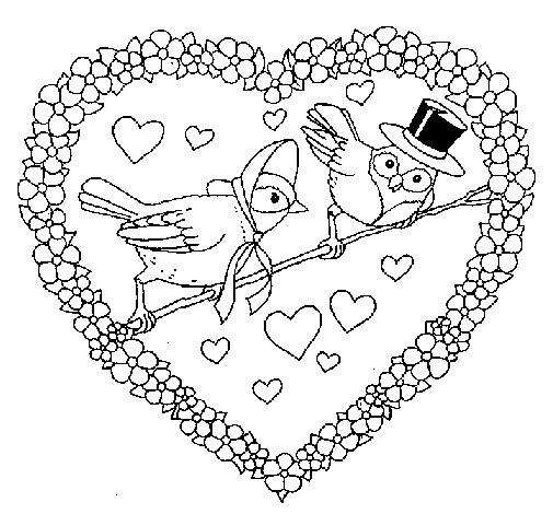 Dibujo de Corazón con pájaros para Colorear