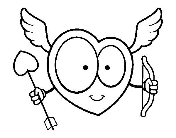 Dibujo de Corazn Cupido para Colorear  Dibujosnet