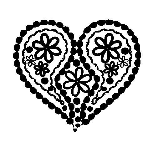 Dibujo de Corazón de flores para Colorear