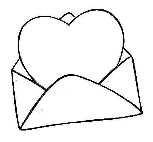 Dibujo de Corazón en un sobre para Colorear