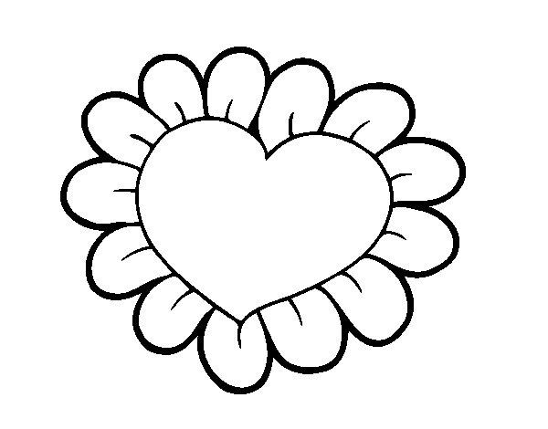 Dibujo de Corazón flor para Colorear