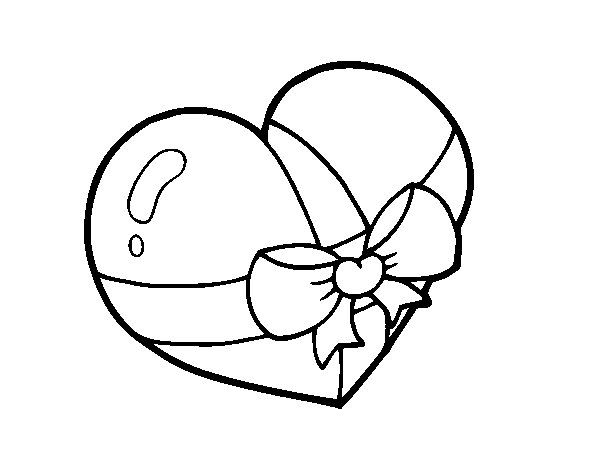 Dibujo de Corazón regalo para Colorear