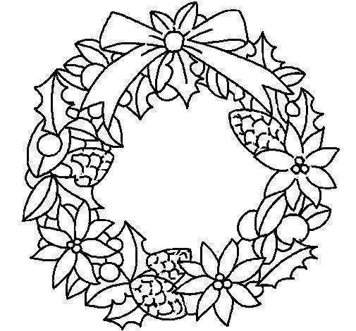 Dibujo de Corona de flores navidea para Colorear  Dibujosnet