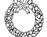 Dibujo de Corona de navidad 1 para colorear