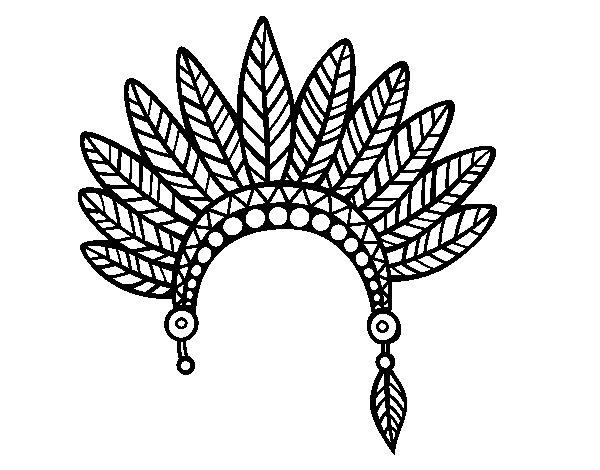 Dibujo de Corona de plumas de jefe indio para Colorear