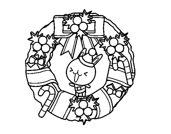 Dibujo de Corona navideña y conejito para Colorear