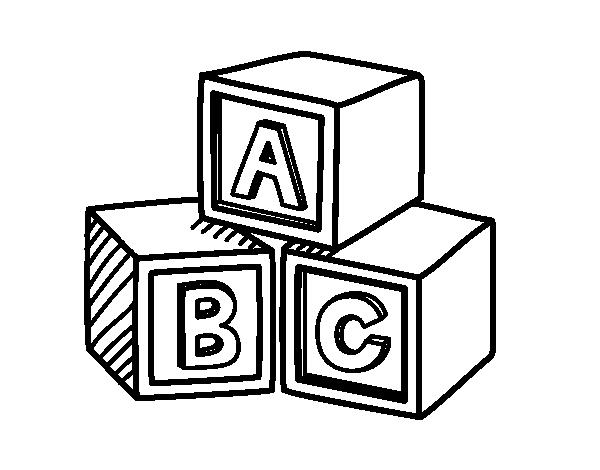 Dibujos De Español Para Colorear: Dibujo De Cubos Educativos ABC Para Colorear