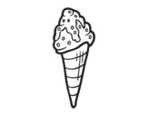 Dibujo de Cucurucho helado con topping para colorear