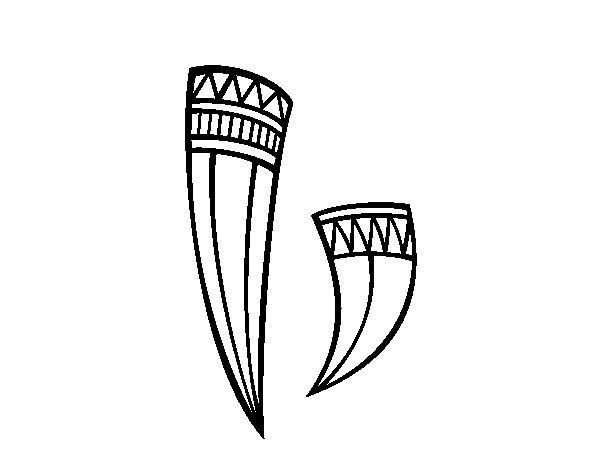 Dibujo de Cuernos decorados indios para Colorear
