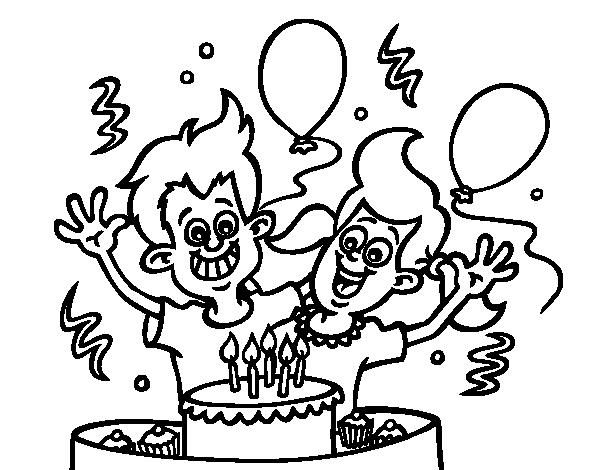 Dibujo de Cumpleaños de hermanos para Colorear