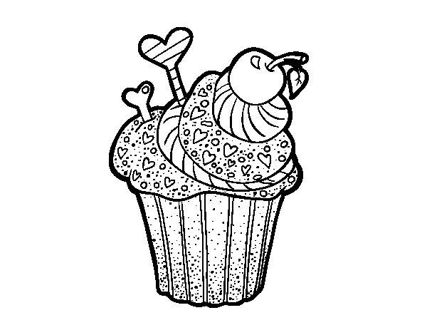 Dibujo de Cupcake delicioso para Colorear