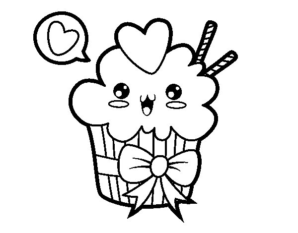 Dibujo De Cupcake Kawaii Con Lazo Para Colorear