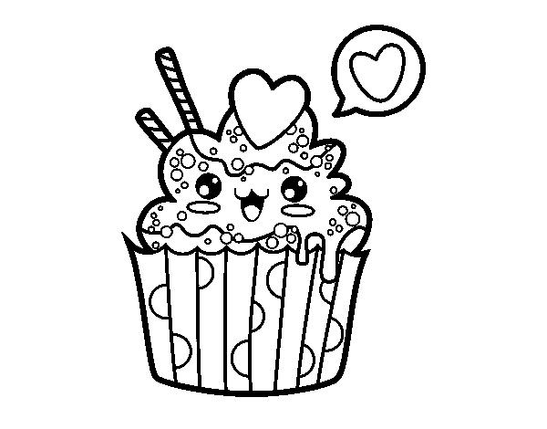 Dibujo de Cupcake kawaii para Colorear Dibujos