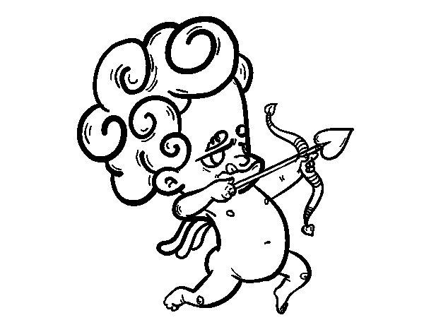 Dibujo de Cupido apuntando para Colorear