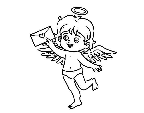 Dibujo de Cupido con carta de amor para Colorear
