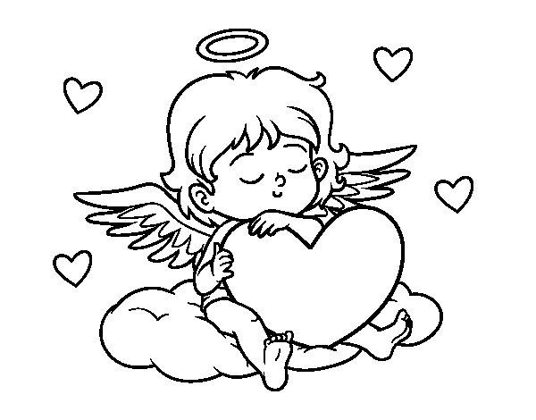 Dibujo de Cupido con corazn para Colorear  Dibujosnet
