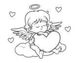 Dibujo de Cupido con corazón para colorear