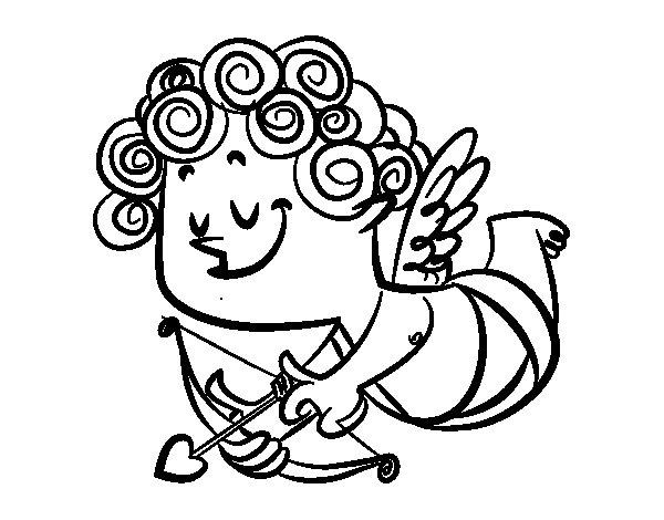 Dibujo de Cupido con rizos para Colorear
