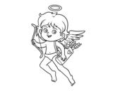 Dibujo de Cupido con su arco mágico para colorear